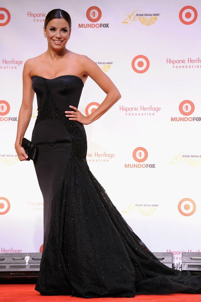 Eva Longoria wears a strapless black Versace gown at the 26th Annual ...