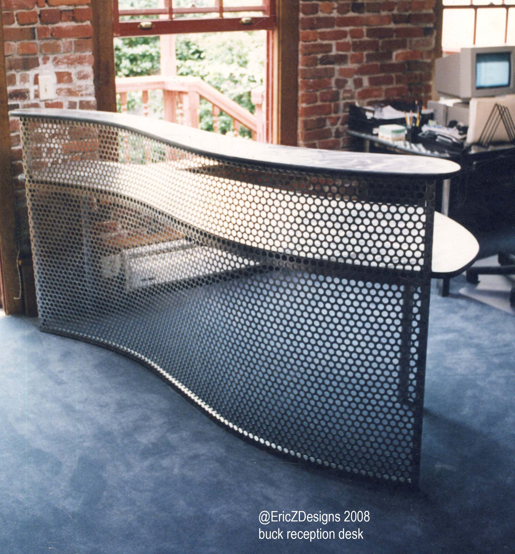 reception desk perforated steel aluminum