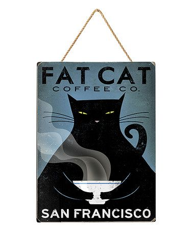This Fat Cat Coffee Co San Francisco Wood Wall Art is perfect
