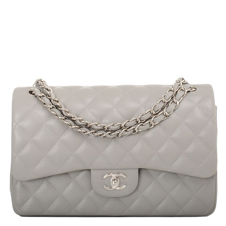 Chanel Classic Quilted Caviar Double Flap Jumbo Bag In Light Grey Vintage Chanel Bag Chanel Flap Bag Designer Shoulder Bags