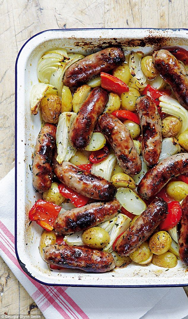 Mary Berry's Absolute Favourites: Roasted sausage and potato supper #sausagedinner