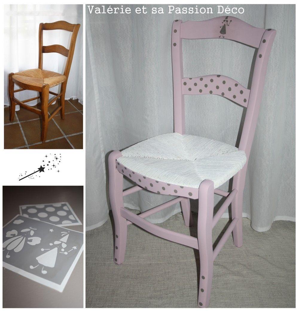"""Pochoir Meuble Bois dedans chaise fée rose """"hortensia"""" - pochoirs passion déco couleur """" misty"""