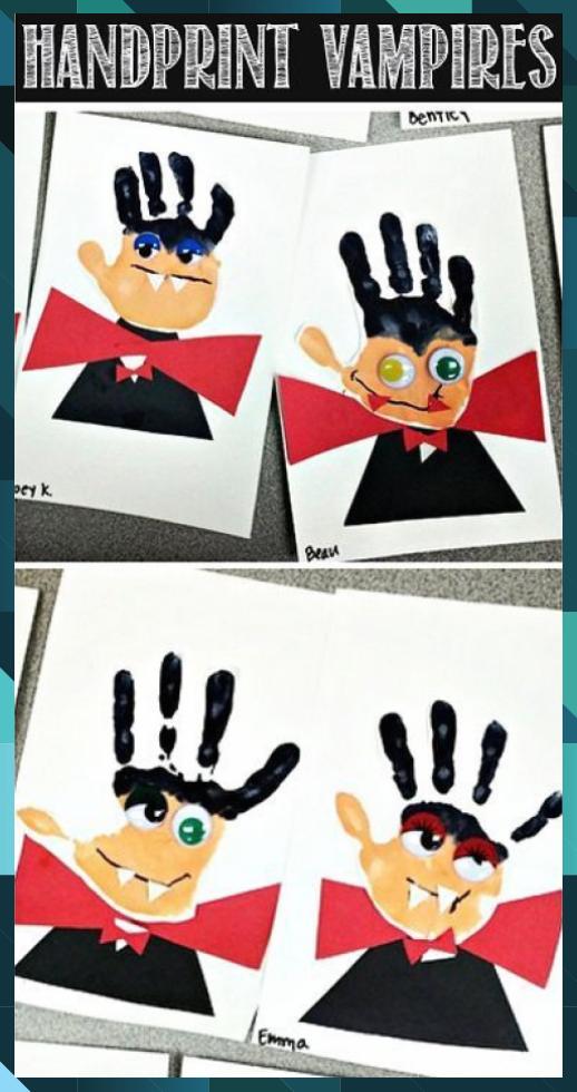 Handprint Vampire Halloween Craft for Kids - Crafty Morning #arts and crafts #Craft #Crafty #creative crafts #Halloween #Handprint #kids #Morning #valentines day crafts #Vampire #yarn crafts