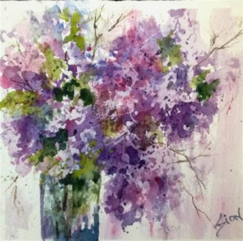 "Daily Paintworks - ""Thursday Night Lilacs"" - Original Fine Art for Sale - © Sue Dion"