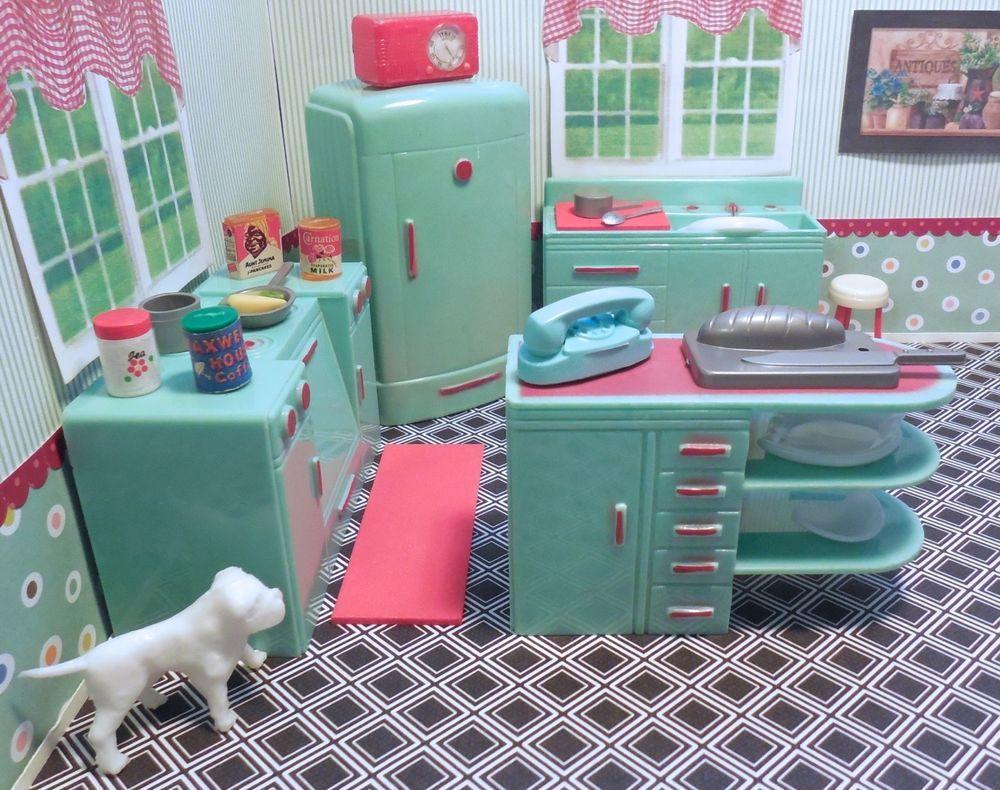 Plasco JADEITE KITCHEN SET Vintage Ideal Renwal Dollhouse Furniture Plastic  1:16