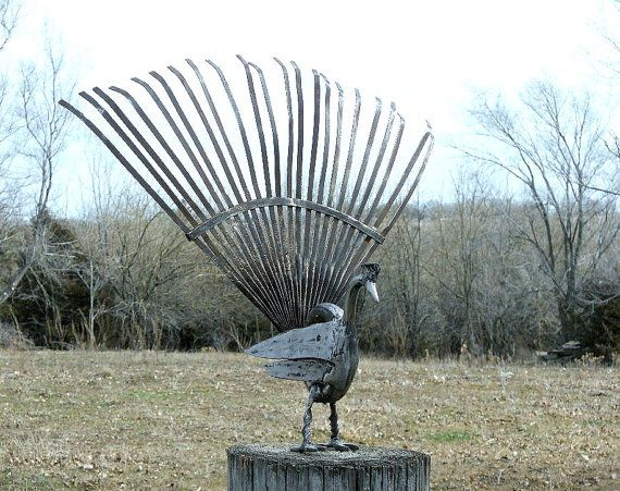 Peacock Metal Sculpture Yard Bird Garden Art by rustaboutcreations