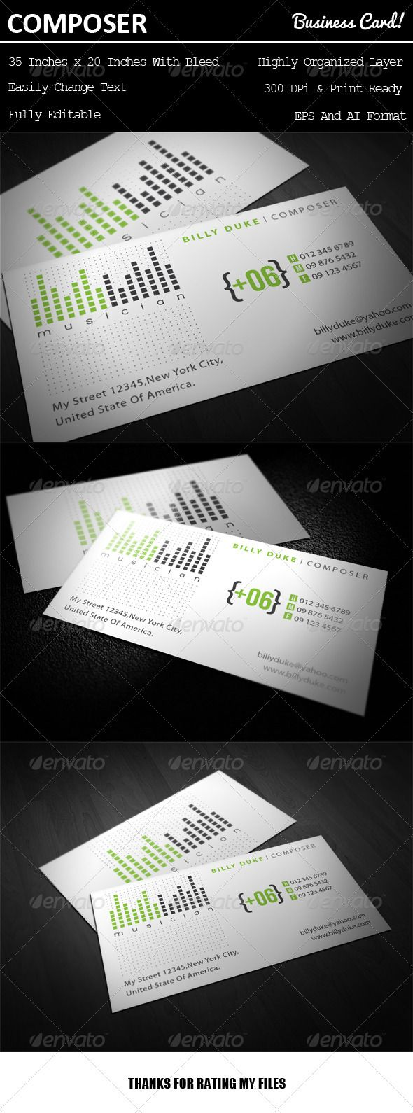 Composer Business Card | Business cards, Business and Print templates