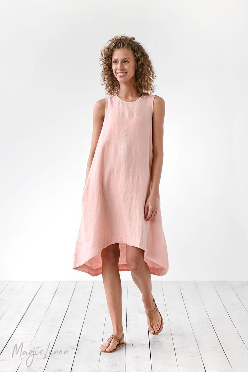 Linen dress toscana sleeveless linen dress pink linen