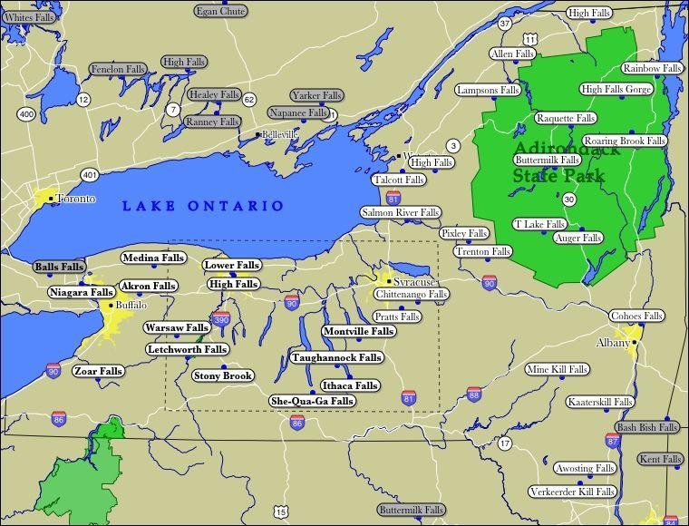 Map of New York WaterFalls newyorkvacationideas