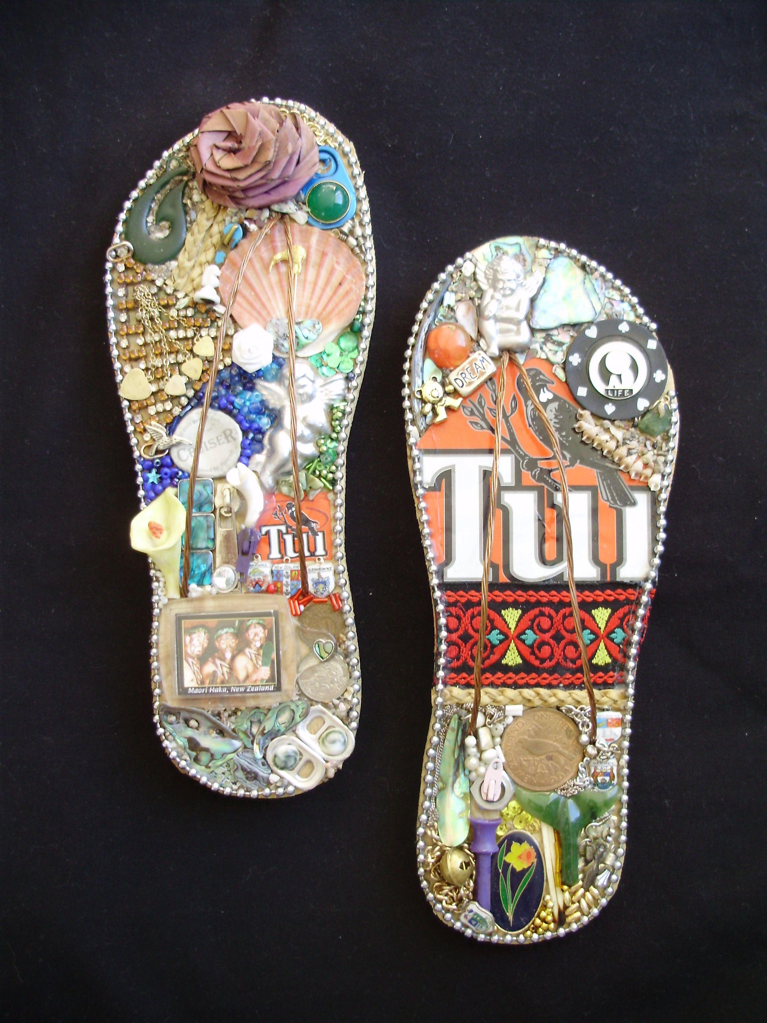 a4b774355de02 Kiwiana Jandals - decorative jandals using New Zealand bitsnpieces ...