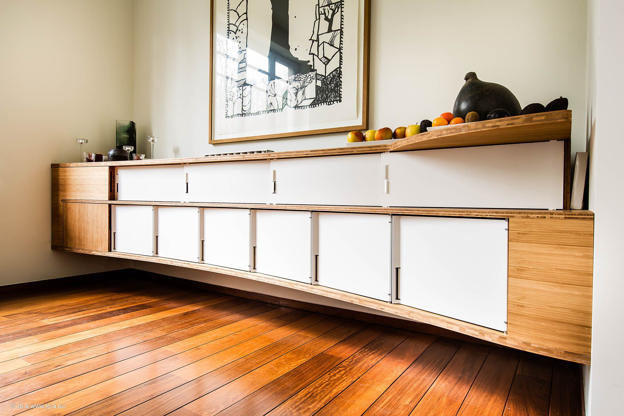 Grand buffet suspendu sideboard suspended rangement bois