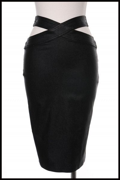 Faux leather midi skirt, featuring a cutout wrap design on both sides. Fits true to size. Model is wearing a Medium.