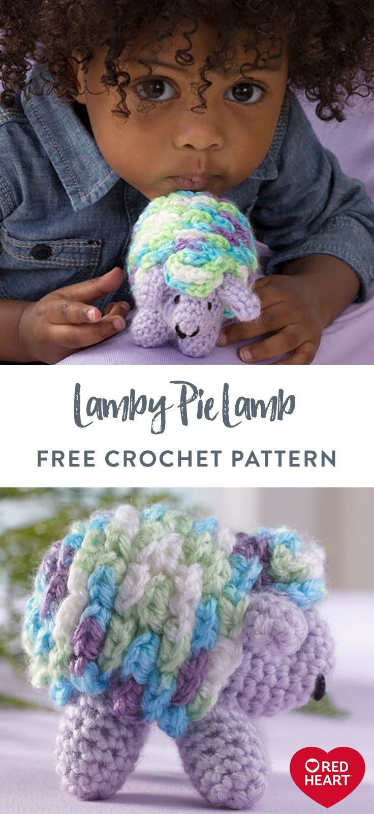 Lamby Pie Lamb free crochet pattern in Red Heart Soft Baby Steps. From baby to g...