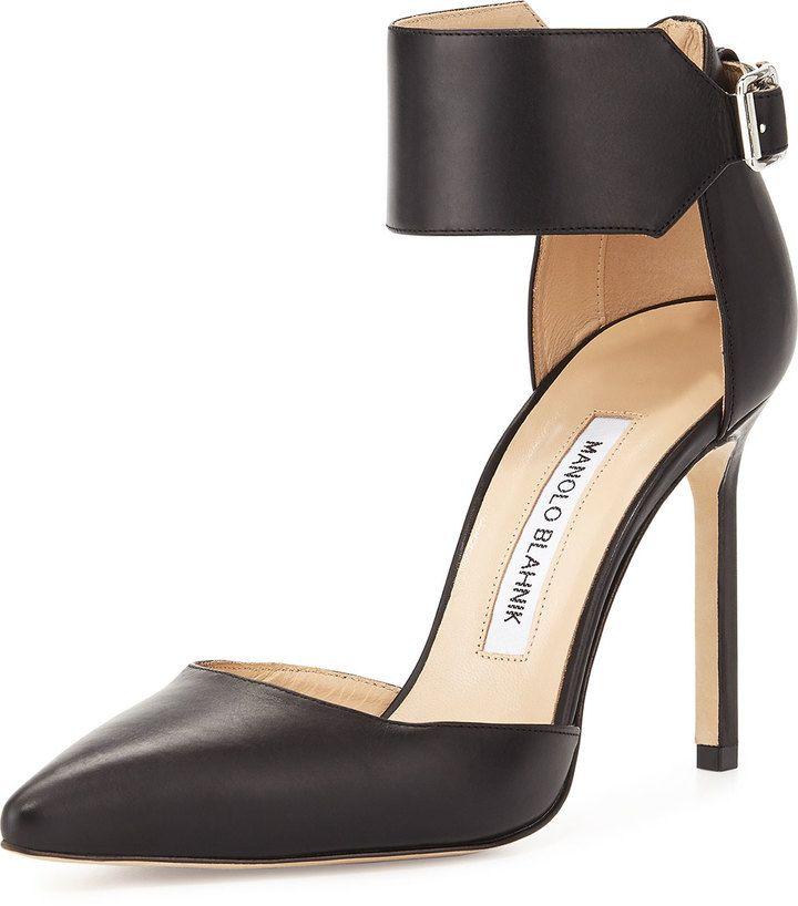 Manolo Blahnik Chaantasta Ankle-Band Leather Pump, Black