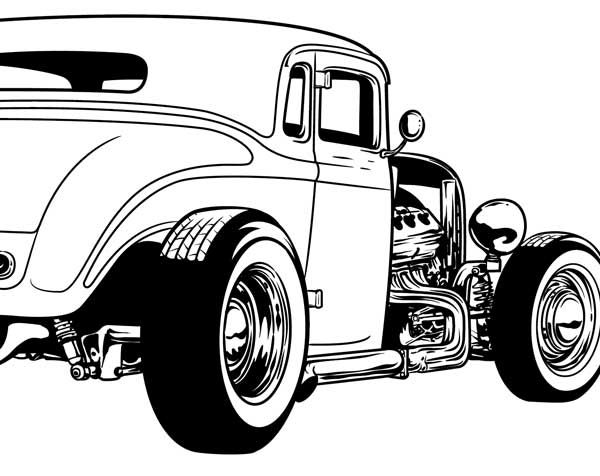 cool hot rod coloring pages