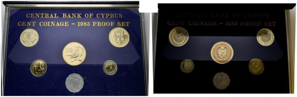 Central Bank Of Cyprus Cent Coinage 1983 Proof Set Blue Case Royal