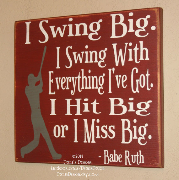 Baseball Decor, Baseball Sign, Baseball Quote, Wooden Baseball Sign, Babe  Ruth Quote, Baseball Wall Decor   Swing Big