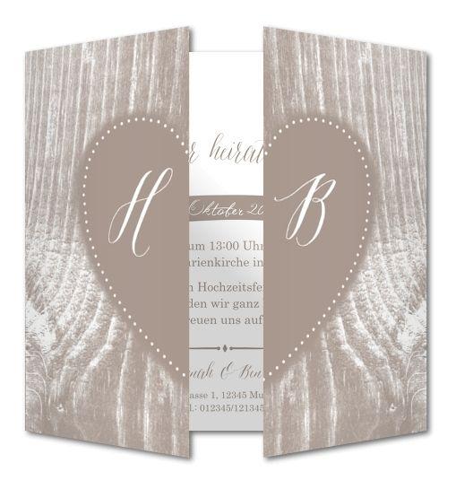 Einladungskarte Hochzeit Holzschnitzerei RFE 508