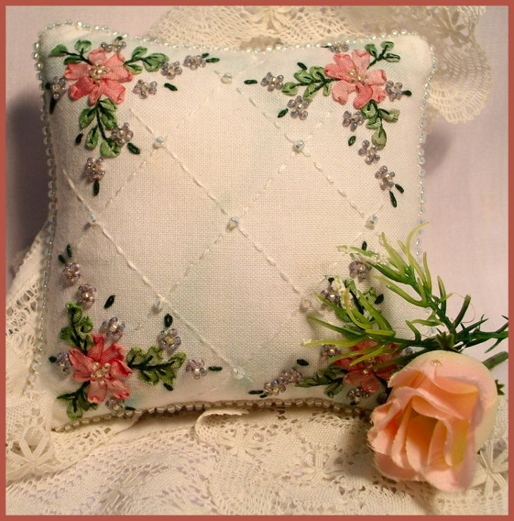 ribbon embroidery designs for cushions