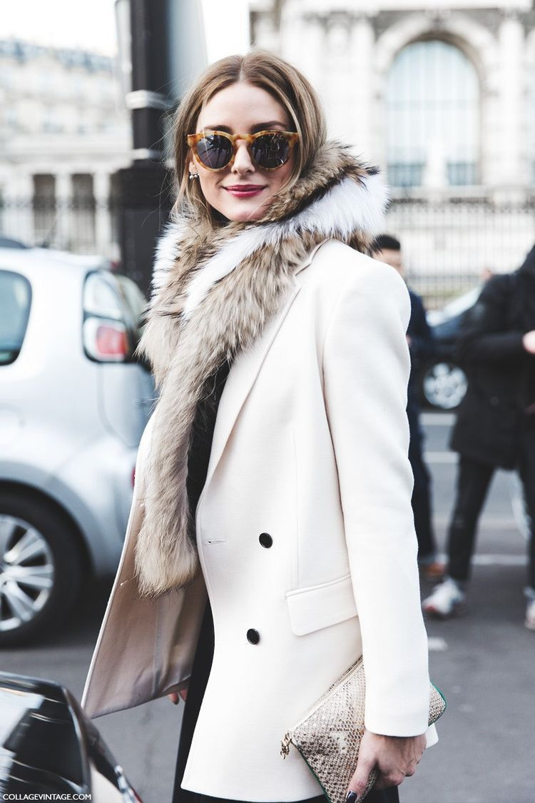 012b1792c0d Olivia Palermo in cream jacket with fur scarf. See more at  www.herstyledview.com