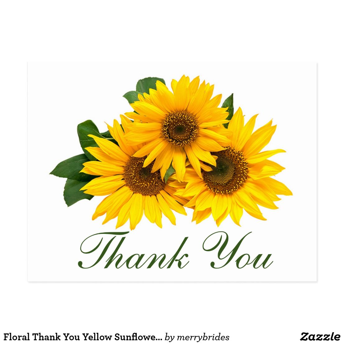 Floral Thank You Yellow Sunflower Flowers Wedding Postcard Zazzle Com Floral Save The Dates Sunflower Flower Wedding Postcard