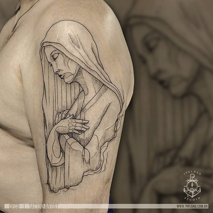 "121 curtidas, 2 comentários - Ink Load - Creative Dock (@inkloadcreativedock) no Instagram: ""Our Lady Tattoo Artist: Deco . #tattoo #ink #ourlady #ourladytattoo #maria #mariatattoo #hatching…"""