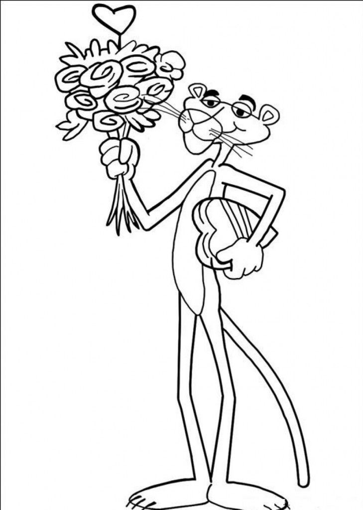 Free Printable Pink Panther Coloring Pages For Kids Pink Panter Flower Coloring Pages Pink Panthers