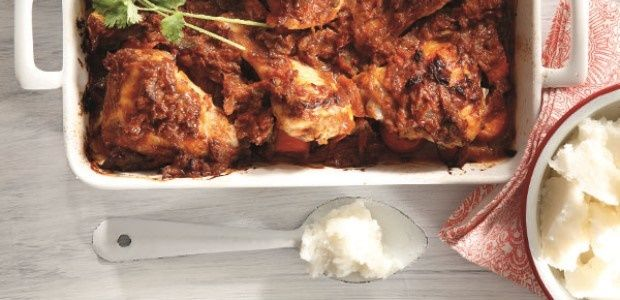sticky chicken with chakalaka and pap food24