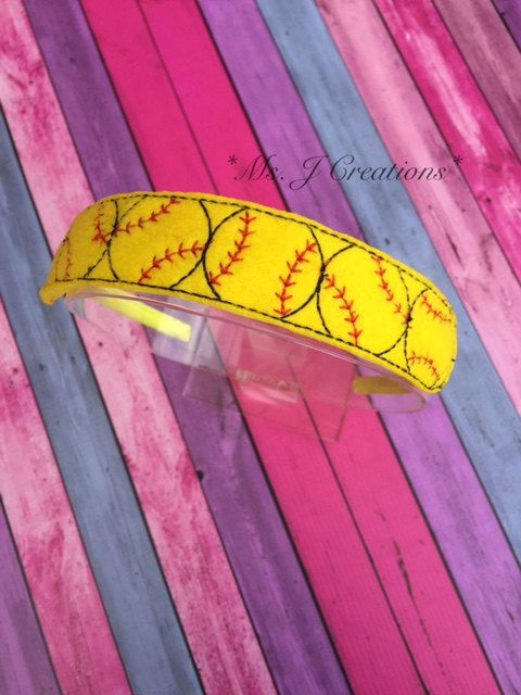 Softball Inspired Felt Slider Headband  Sport by MsJCreations