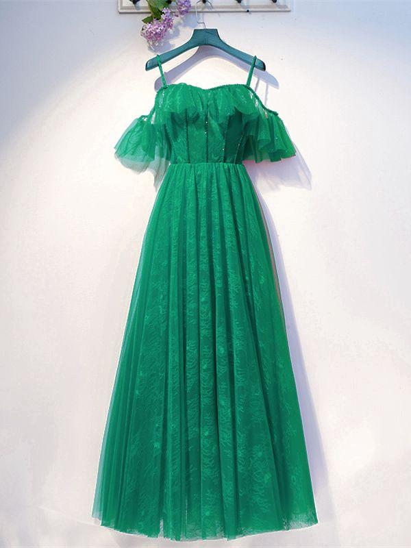 Elegante A Linie Abendkleid Brautkleid Lang grün Tüll ...