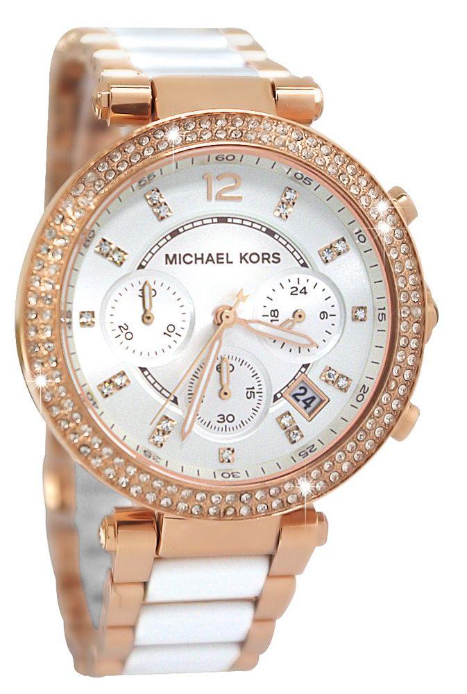 7df893d5d5f Michael Kors MK5774 Parker Chrono White Glitz Rose Gold Steel Women Watch  NEW