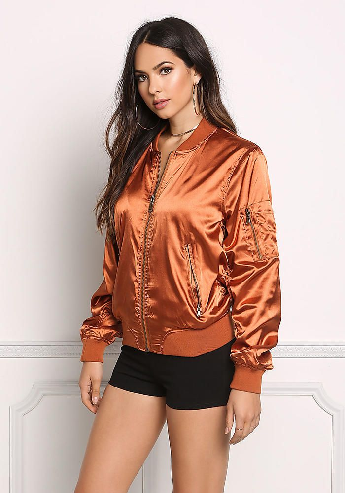 f4fa3bce0 Copper Ruched Satin Bomber Jacket | Women in Satin in 2019 | Satin ...
