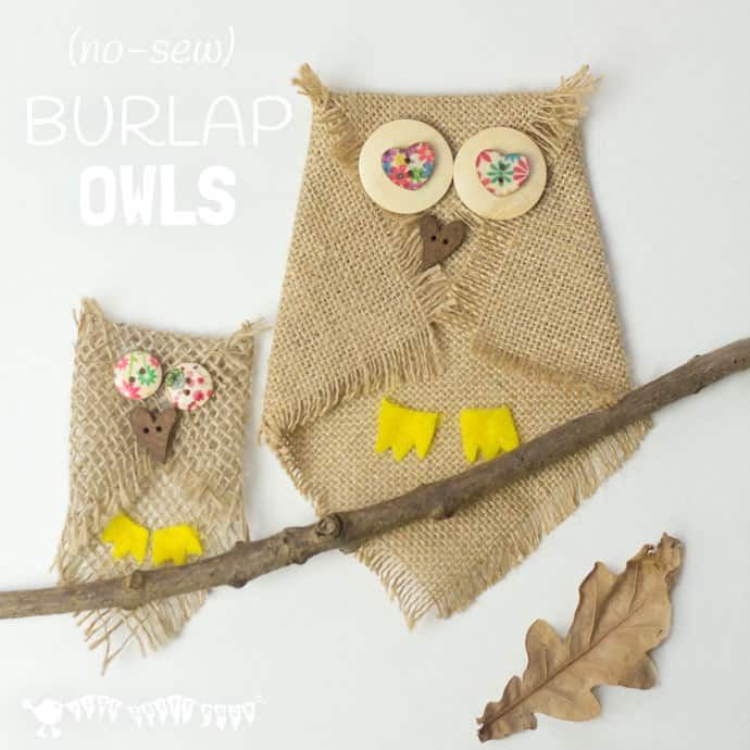 Cute Button & Burlap Owls -   23 burlap crafts for kids ideas