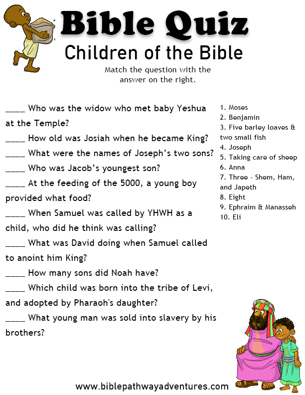image about Printable Bible Quiz called Printable bible quiz - Small children of the Bible JW worksheets