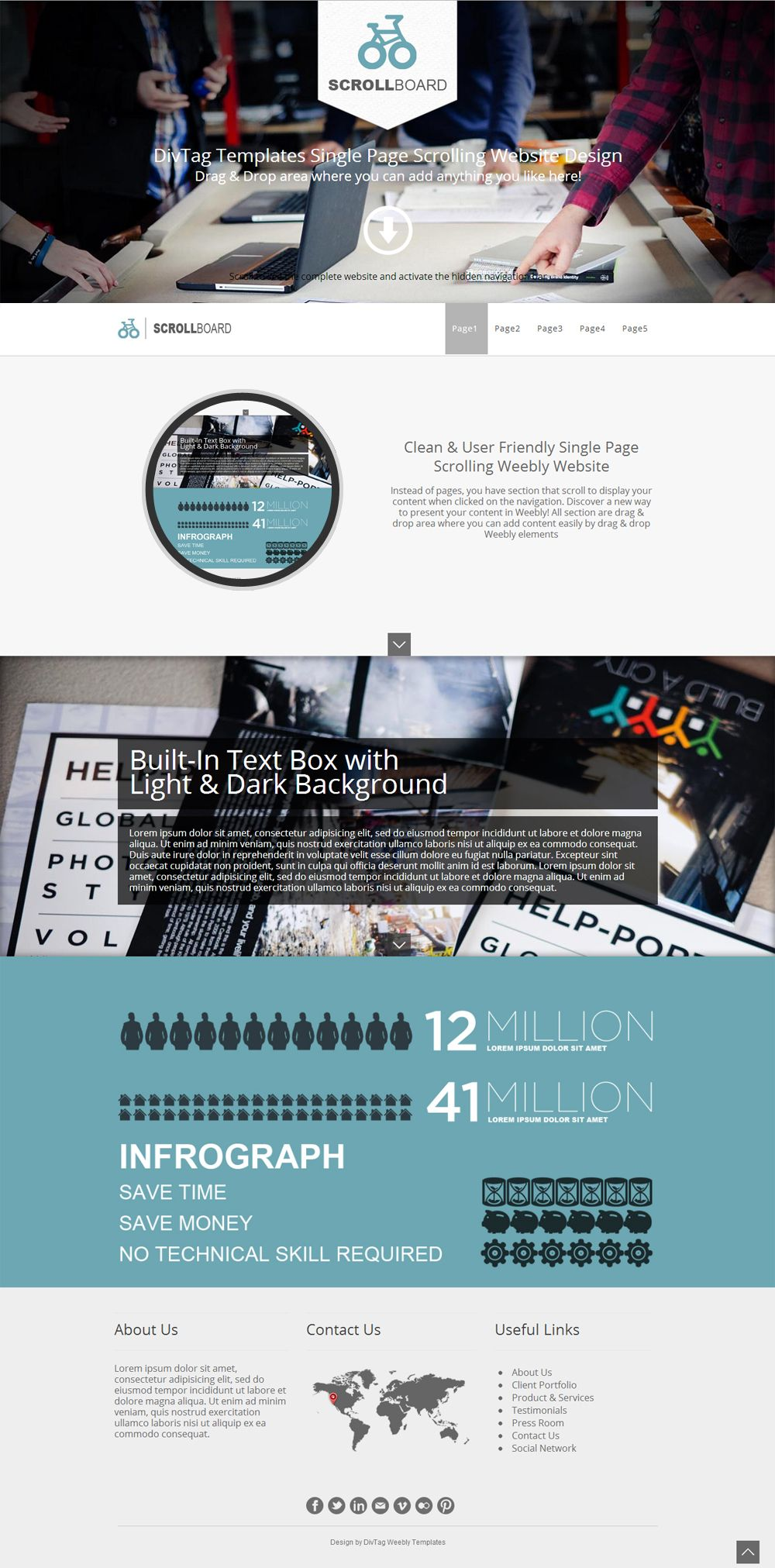 One Pager Weebly Template - Scrollboard enables you to present your ...
