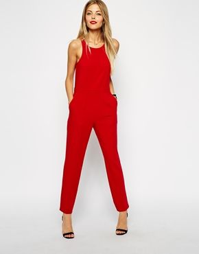 Image 1 of ASOS Chic Racer Jumpsuit with Sheer Back | Booties ...