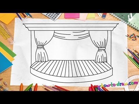 how to draw a stage easy step by step drawing lessons for kids youtube