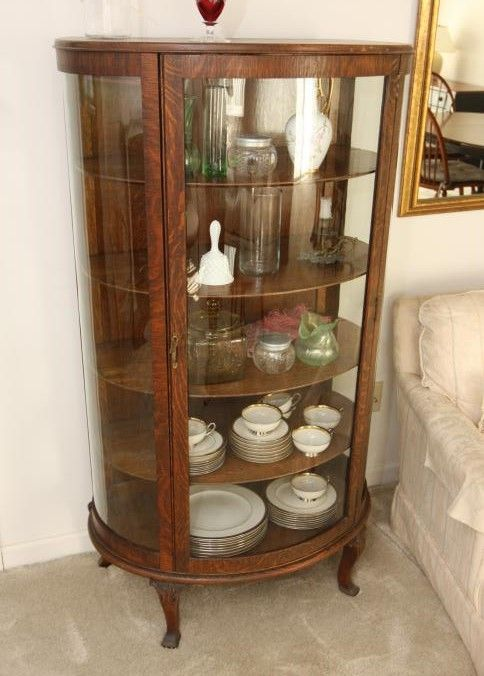 Half Round Curio Cabinet With Glass Sides And Single Glass Door