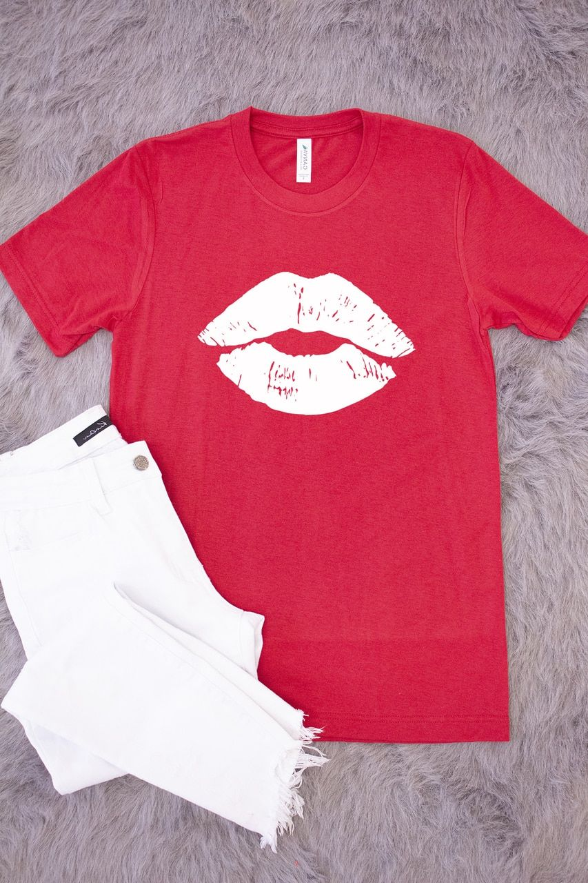 Kiss Me Lips Red Graphic Tee Tees Graphic Tees Shirt Designs