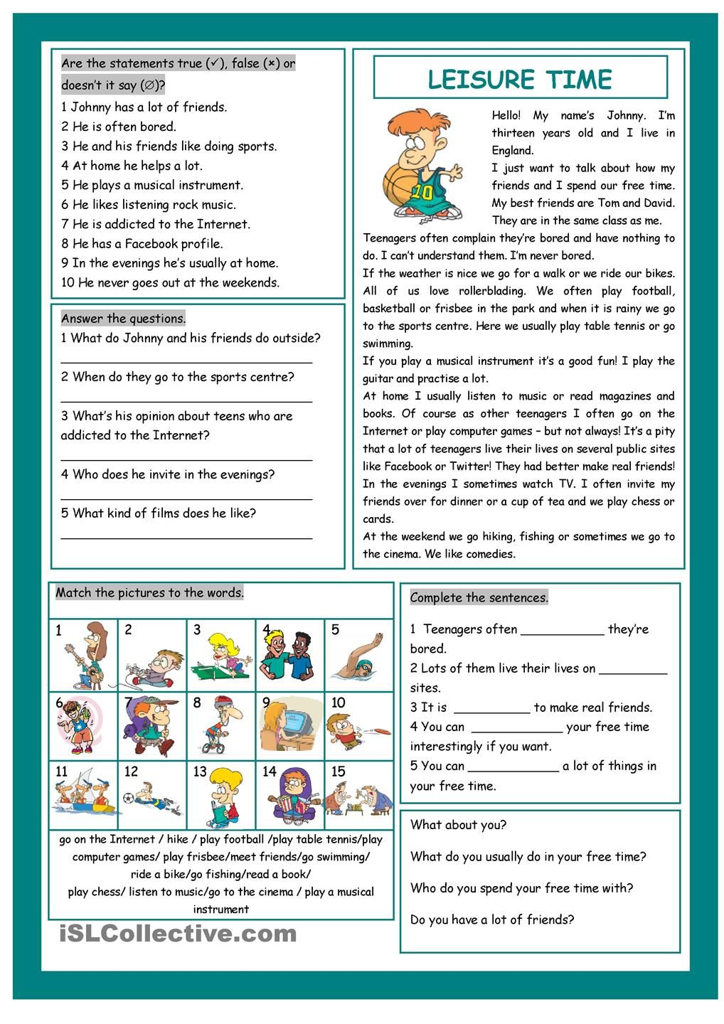 Workbooks year 8 english worksheets comprehension : Leisure Time! | Esl | Pinterest | English, Reading comprehension ...