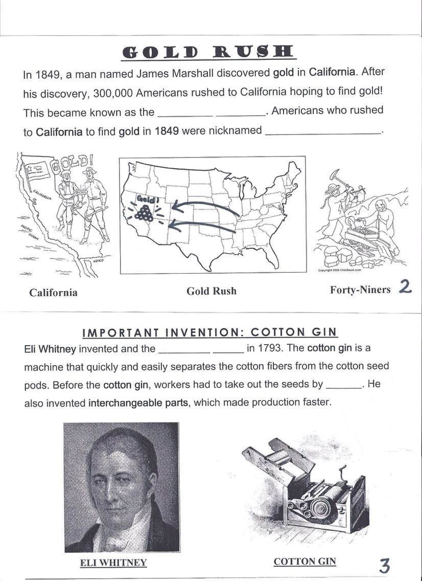 A Combination Worksheet Of The Gold Rush In California And The Invention Of The Cotton Gin By Eli Whitney Pi Gold Rush Worksheets Gold Rush Reading Worksheets