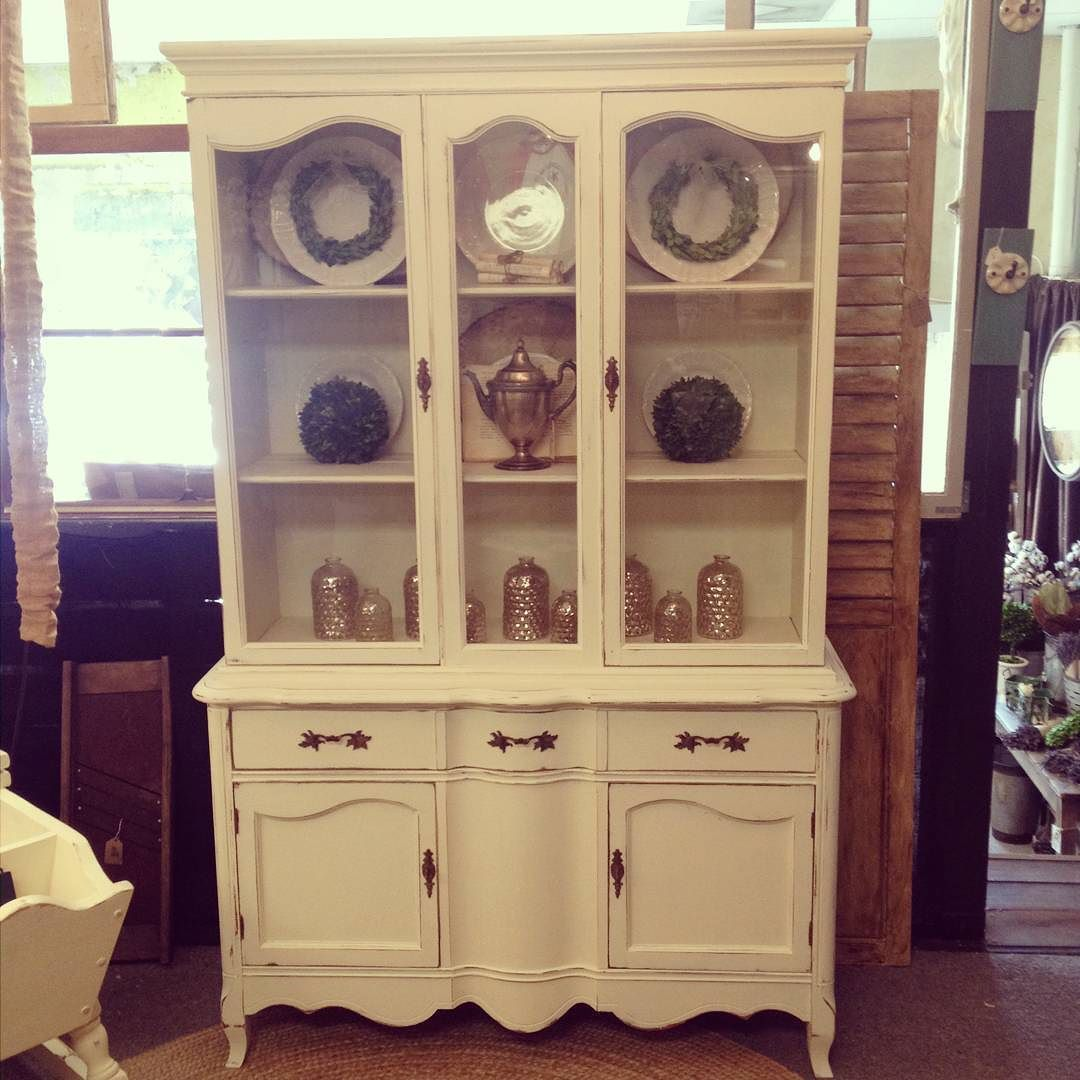 Lovely Antique White Curio Cabinet