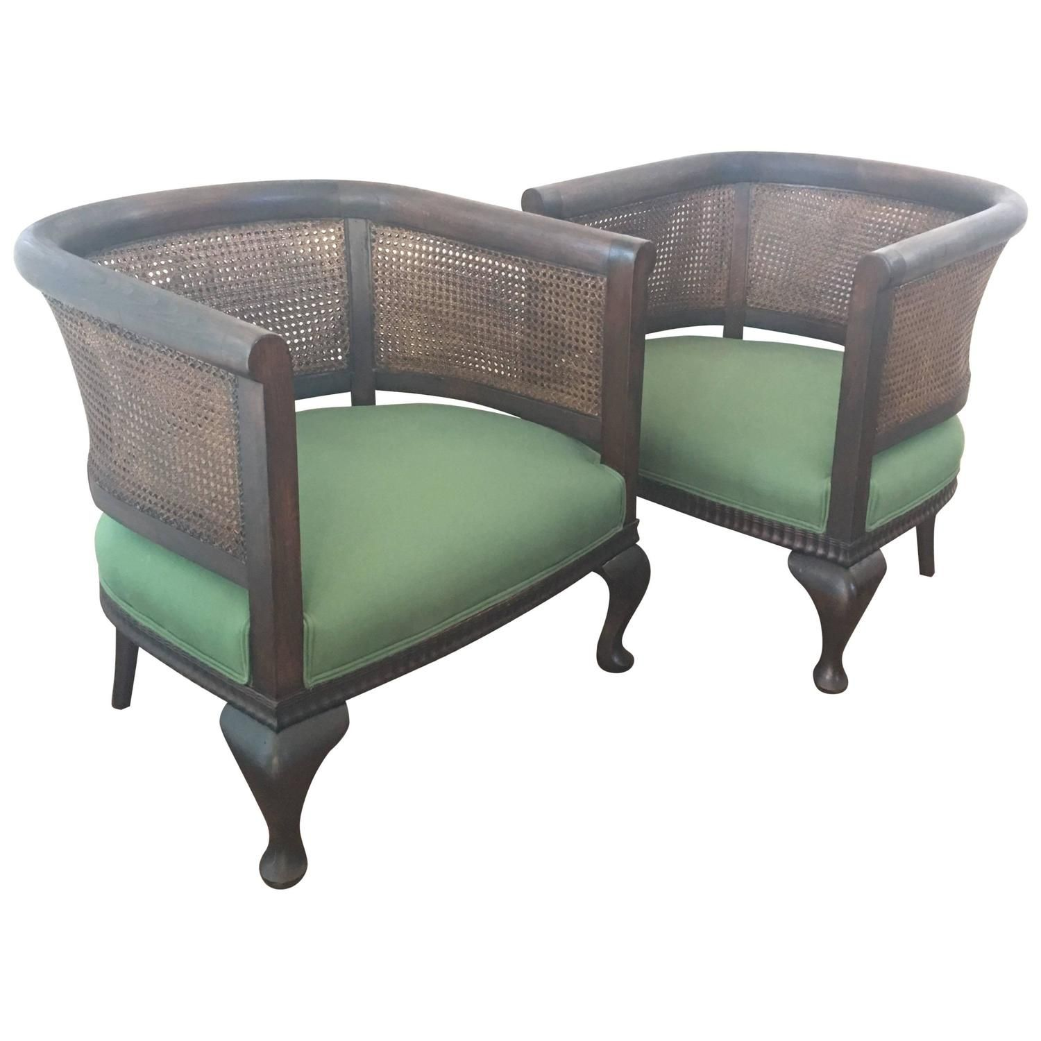 Early 20th Century Framed Bergere Caned Club Chairs