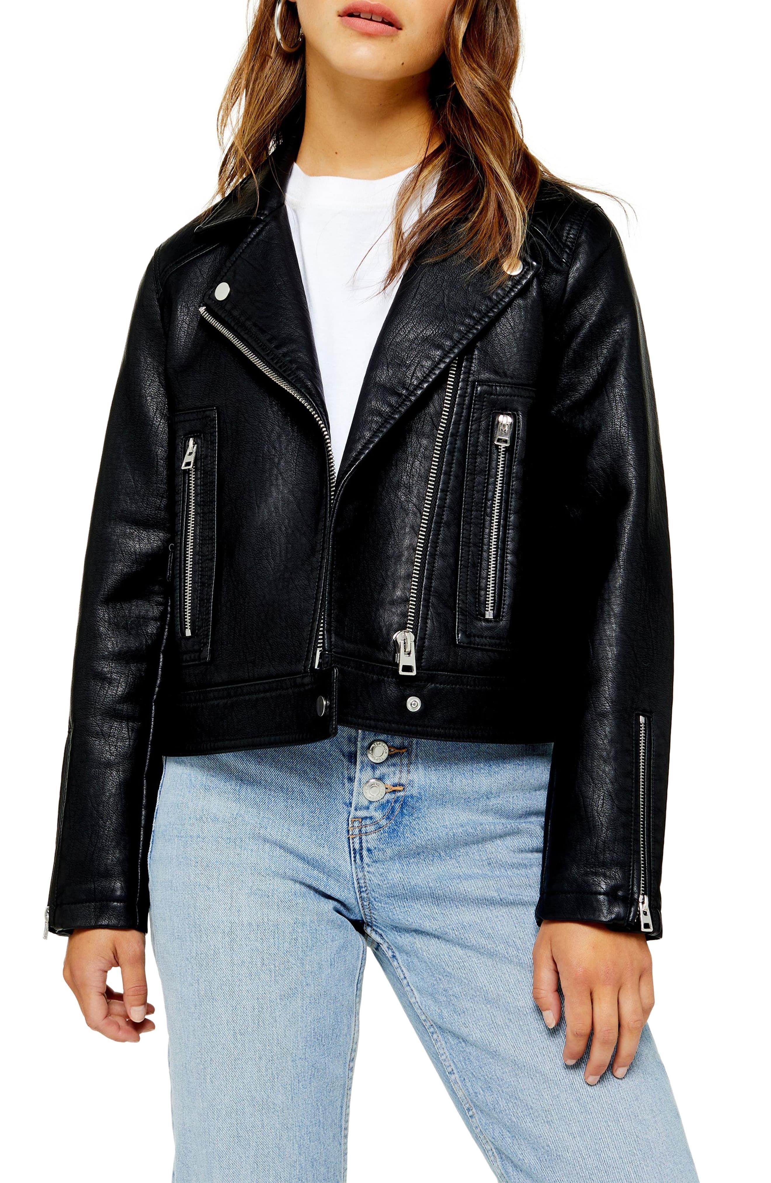 Teddy Faux Leather Biker Jacket (Regular & Petite