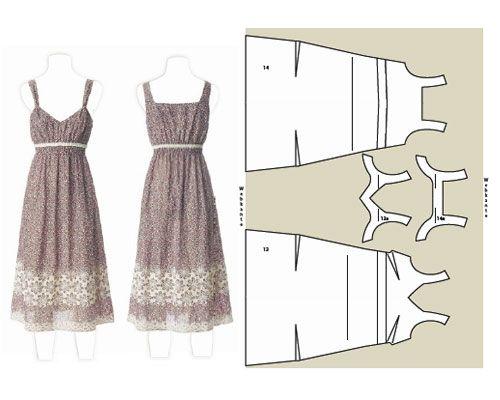 Trägerkleid Schnittzeichnung | Nähen | Pinterest | Muster und ...