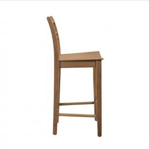 Neptune Suffolk High Back Seasoned Oak Bar Stool