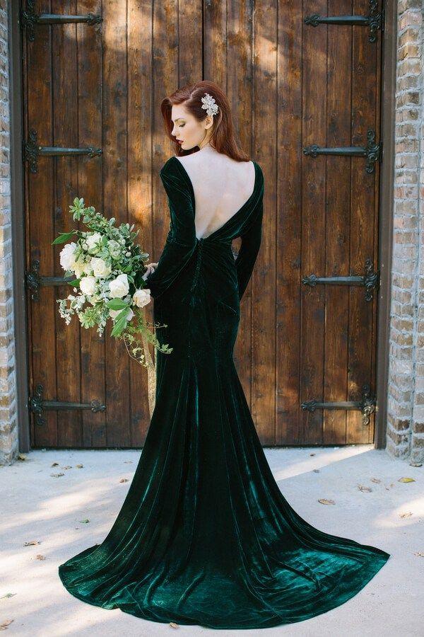 wedding elegant emerald green dress