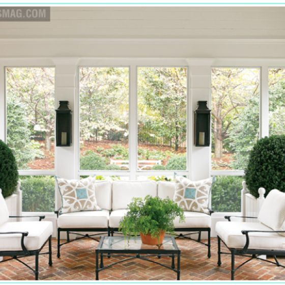 Perfect Porch. Sconces, Neutral Sunbrella, Pillows That