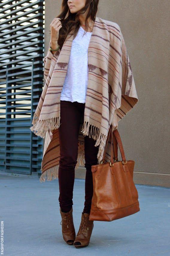 Boho style pantalon bordeaux marron pull blanc poncho azt que sac marron assortie a des bottes - Comment nettoyer un sac en daim ...