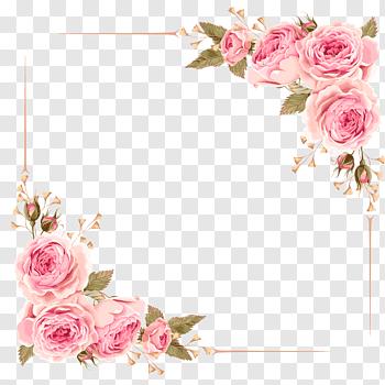 Wedding Invitation Flower Rose Pink Rose Border Pink Rose Flower Digital Frame Free Png Flower Wreath Illustration Flower Illustration Flower Frame Png